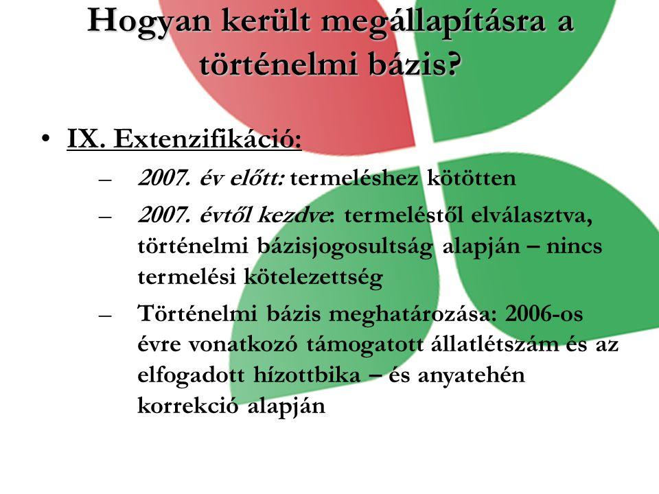 Hogyan került megállapításra a történelmi bázis? IX. Extenzifikáció: –2007. év előtt: termeléshez kötötten –2007. évtől kezdve: termeléstől elválasztv