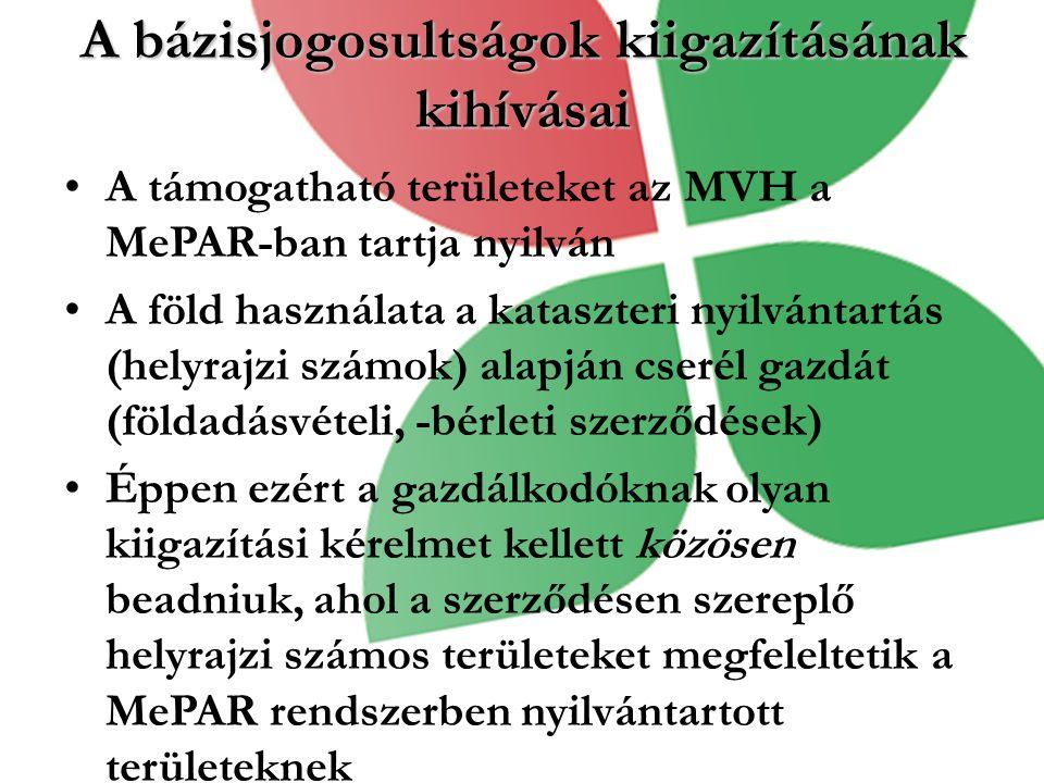 A bázisjogosultságok kiigazításának kihívásai A támogatható területeket az MVH a MePAR-ban tartja nyilván A föld használata a kataszteri nyilvántartás