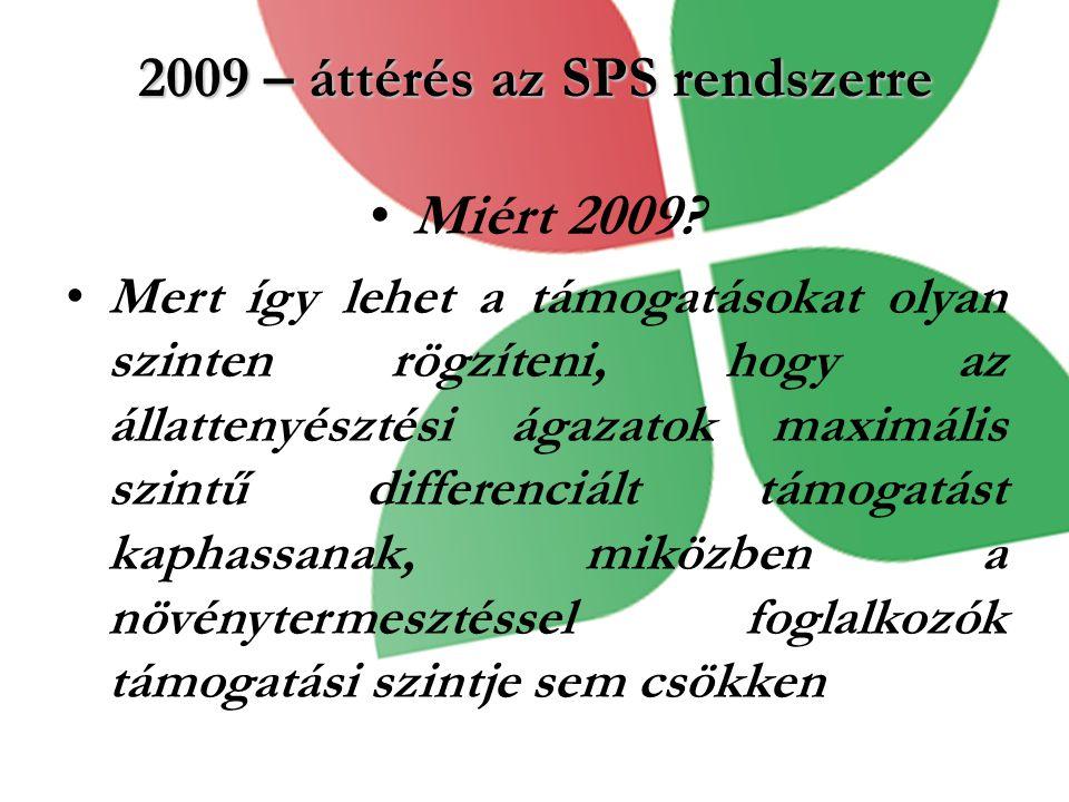 2009 – áttérés az SPS rendszerre Miért 2009? Mert így lehet a támogatásokat olyan szinten rögzíteni, hogy az állattenyésztési ágazatok maximális szint