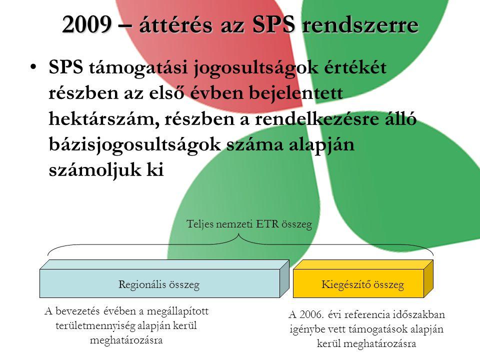 2009 – áttérés az SPS rendszerre SPS támogatási jogosultságok értékét részben az első évben bejelentett hektárszám, részben a rendelkezésre álló bázis