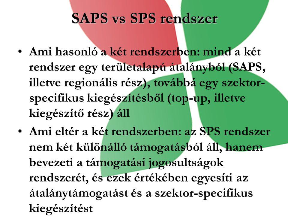 SAPS vs SPS rendszer Ami hasonló a két rendszerben: mind a két rendszer egy területalapú átalányból (SAPS, illetve regionális rész), továbbá egy szekt