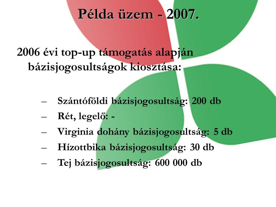 Példa üzem - 2007. 2006 évi top-up támogatás alapján bázisjogosultságok kiosztása: –Szántóföldi bázisjogosultság: 200 db –Rét, legelő: - –Virginia doh