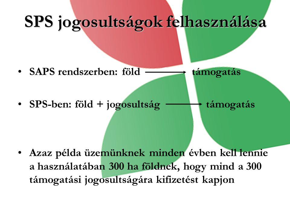SPS jogosultságok felhasználása SAPS rendszerben: föld támogatás SPS-ben: föld + jogosultság támogatás Azaz példa üzemünknek minden évben kell lennie