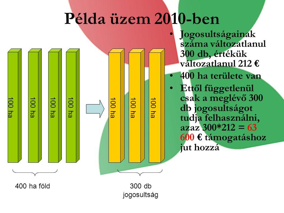 Példa üzem 2010-ben Jogosultságainak száma változatlanul 300 db, értékük változatlanul 212 € 400 ha területe van Ettől függetlenül csak a meglévő 300