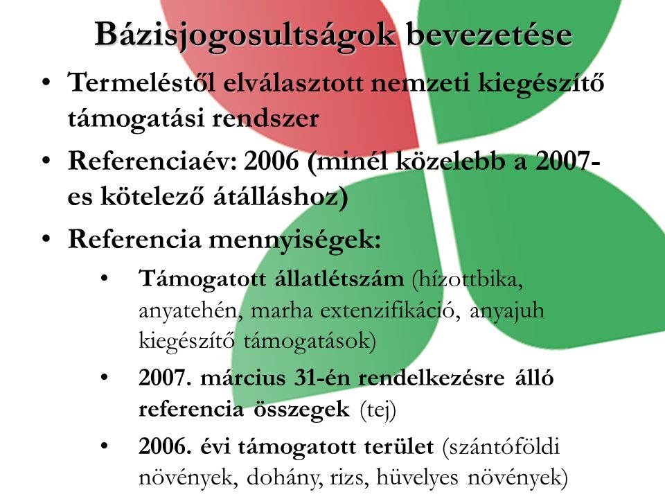 Bázisjogosultságok bevezetése Termeléstől elválasztott nemzeti kiegészítő támogatási rendszer Referenciaév: 2006 (minél közelebb a 2007- es kötelező á
