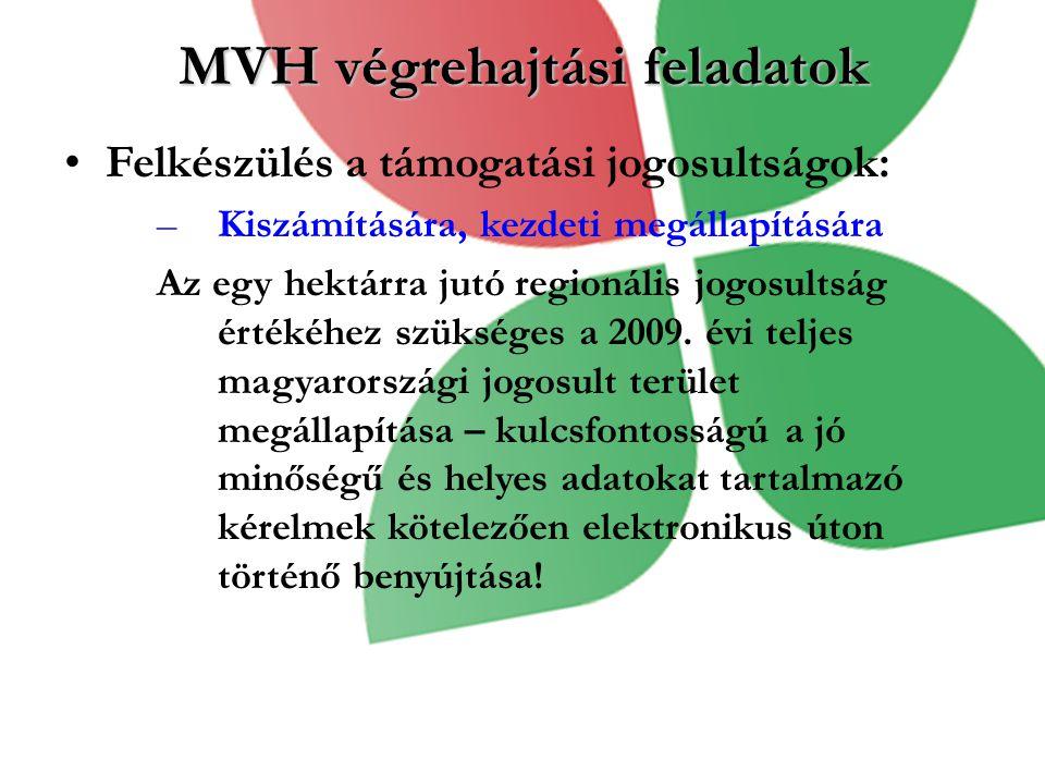 MVH végrehajtási feladatok Felkészülés a támogatási jogosultságok: –Kiszámítására, kezdeti megállapítására Az egy hektárra jutó regionális jogosultság