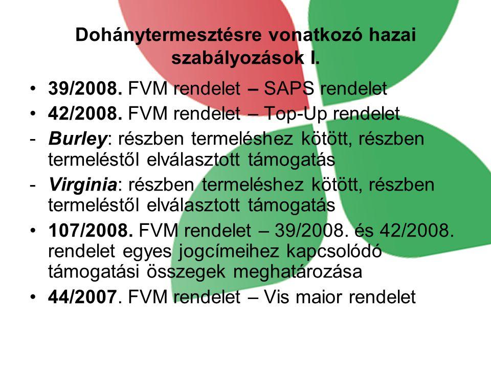 Dohánytermesztésre vonatkozó hazai szabályozások I. 39/2008. FVM rendelet – SAPS rendelet 42/2008. FVM rendelet – Top-Up rendelet -Burley: részben ter