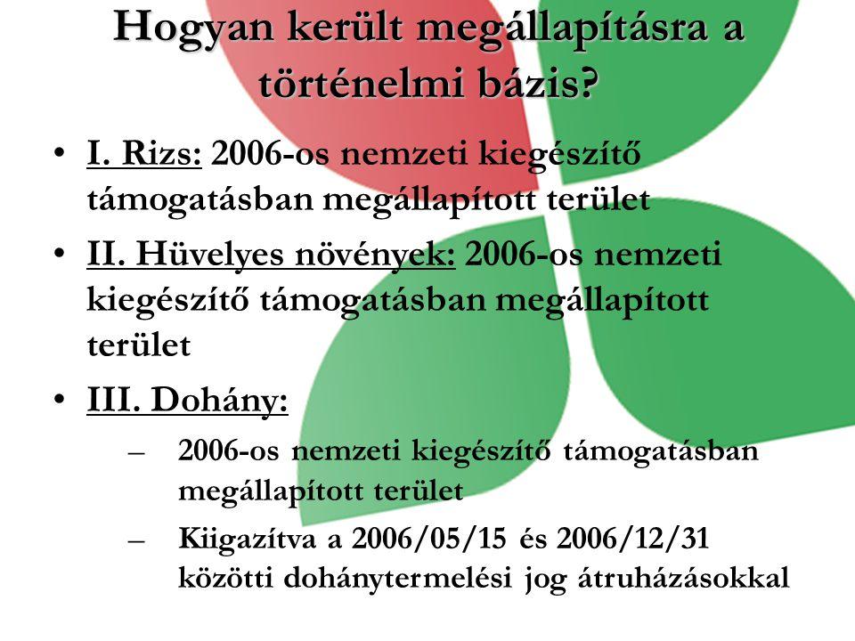 Hogyan került megállapításra a történelmi bázis? I. Rizs: 2006-os nemzeti kiegészítő támogatásban megállapított terület II. Hüvelyes növények: 2006-os