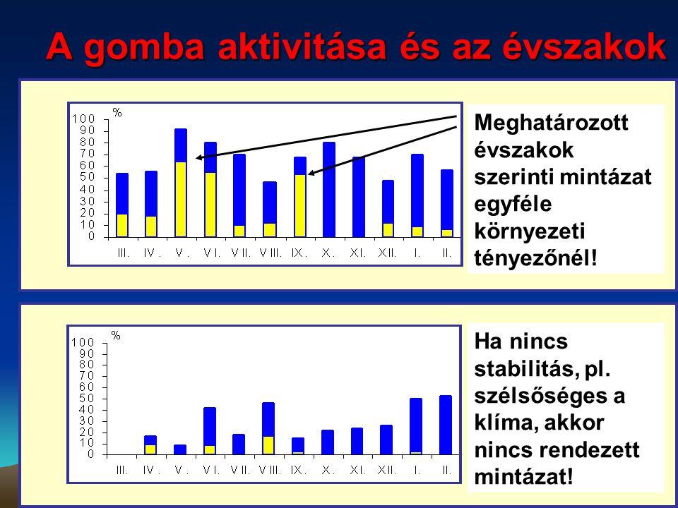 A gomba aktivitása és az évszakok Meghatározott évszakok szerinti mintázat egyféle környezeti tényezőnél! Ha nincs stabilitás, pl. szélsőséges a klíma