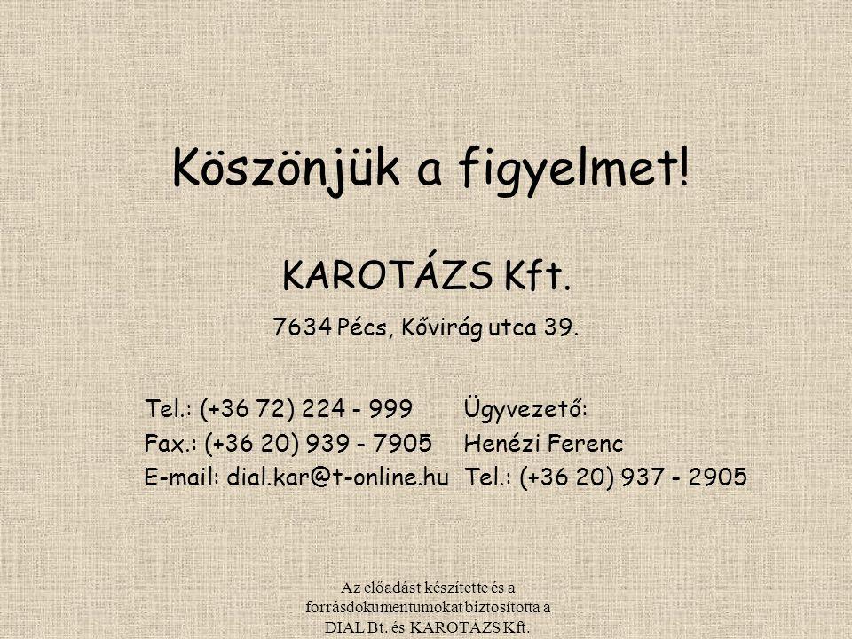 Köszönjük a figyelmet! Tel.: (+36 72) 224 - 999 Fax.: (+36 20) 939 - 7905 E-mail: dial.kar@t-online.hu Ügyvezető: Henézi Ferenc Tel.: (+36 20) 937 - 2