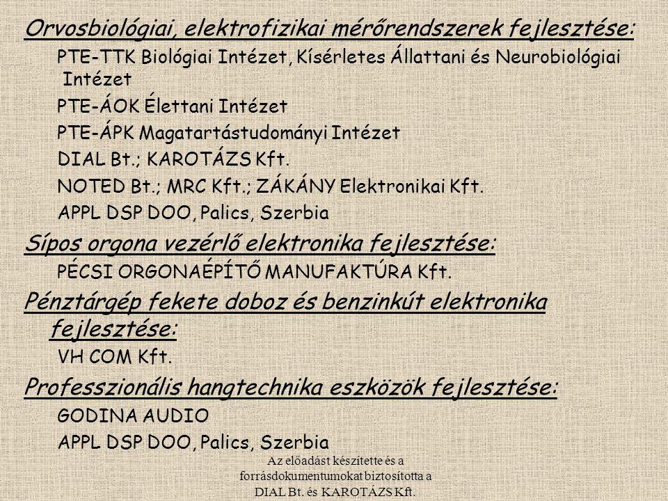 Az előadást készítette és a forrásdokumentumokat biztosította a DIAL Bt. és KAROTÁZS Kft. Orvosbiológiai, elektrofizikai mérőrendszerek fejlesztése: P