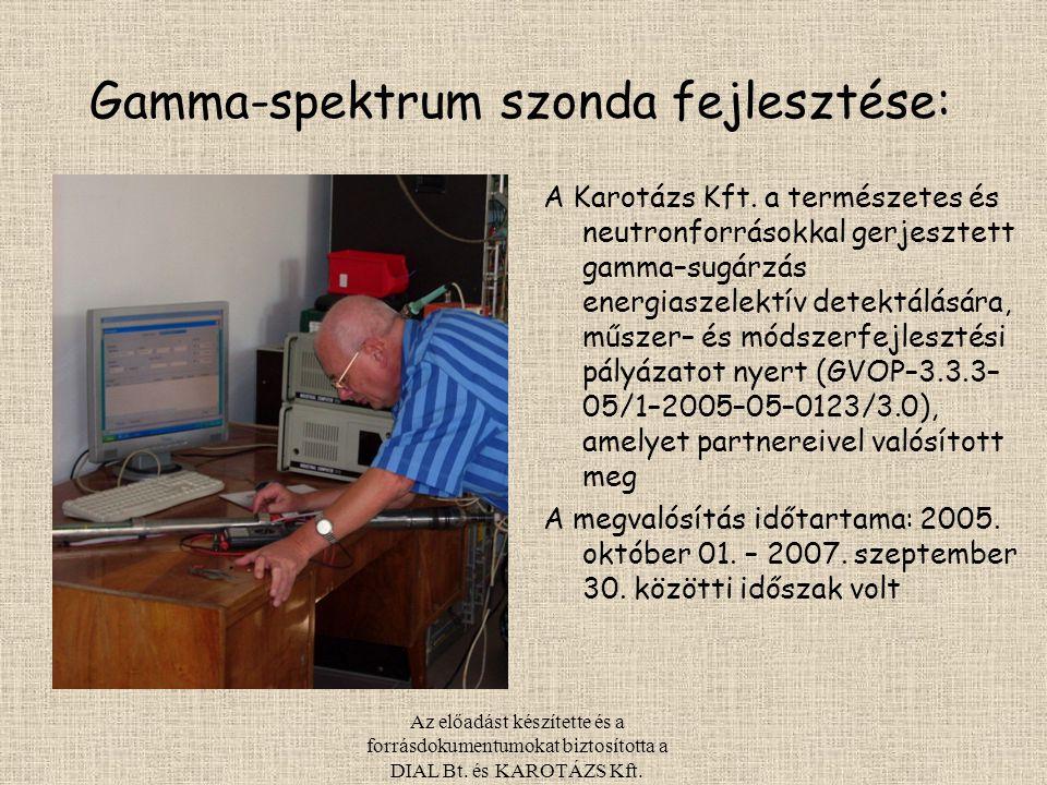 Az előadást készítette és a forrásdokumentumokat biztosította a DIAL Bt. és KAROTÁZS Kft. Gamma-spektrum szonda fejlesztése: A Karotázs Kft. a termész