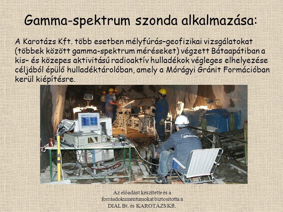Az előadást készítette és a forrásdokumentumokat biztosította a DIAL Bt. és KAROTÁZS Kft. A Karotázs Kft. több esetben mélyfúrás–geofizikai vizsgálato