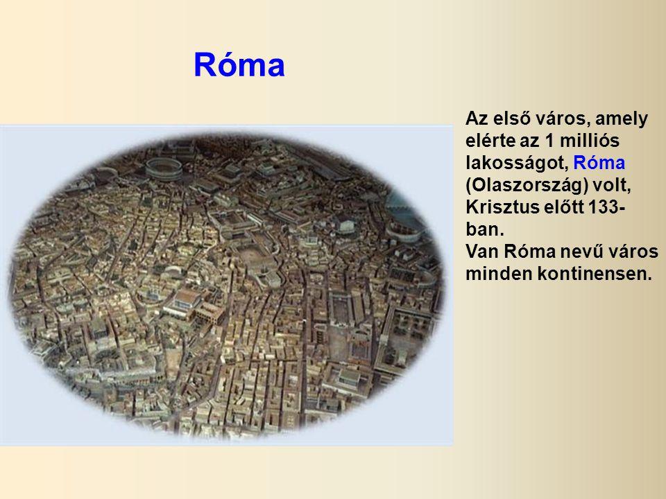 Róma Az első város, amely elérte az 1 milliós lakosságot, Róma (Olaszország) volt, Krisztus előtt 133- ban.