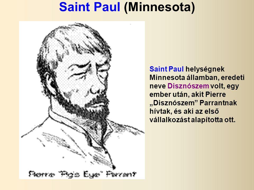 """Saint Paul (Minnesota) Saint Paul helységnek Minnesota államban, eredeti neve Disznószem volt, egy ember után, akit Pierre """"Disznószem Parrantnak hívtak, és aki az első vállalkozást alapította ott."""