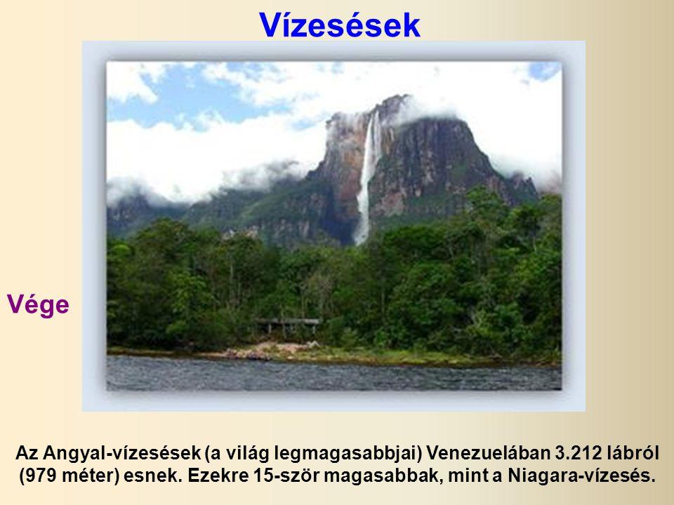 Vízesések Az Angyal-vízesések (a világ legmagasabbjai) Venezuelában 3.212 lábról (979 méter) esnek.