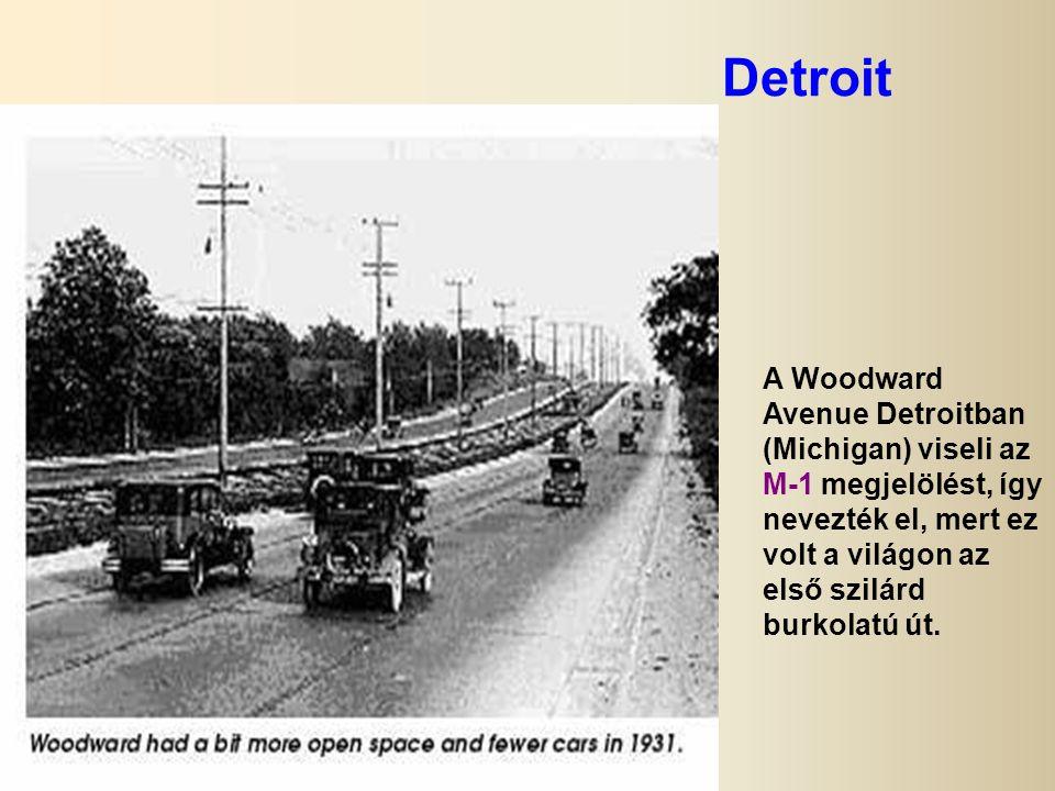 Detroit A Woodward Avenue Detroitban (Michigan) viseli az M-1 megjelölést, így nevezték el, mert ez volt a világon az első szilárd burkolatú út.