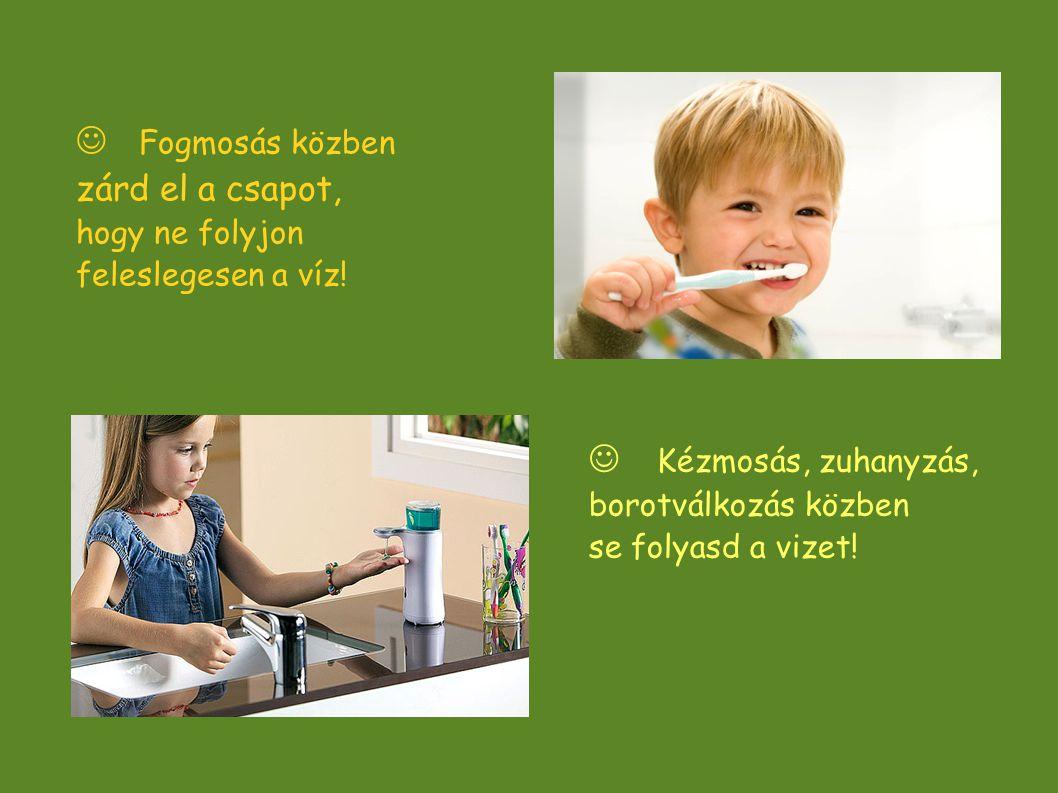  Fogmosás közben zárd el a csapot, hogy ne folyjon feleslegesen a víz!  Kézmosás, zuhanyzás, borotválkozás közben se folyasd a vizet! 