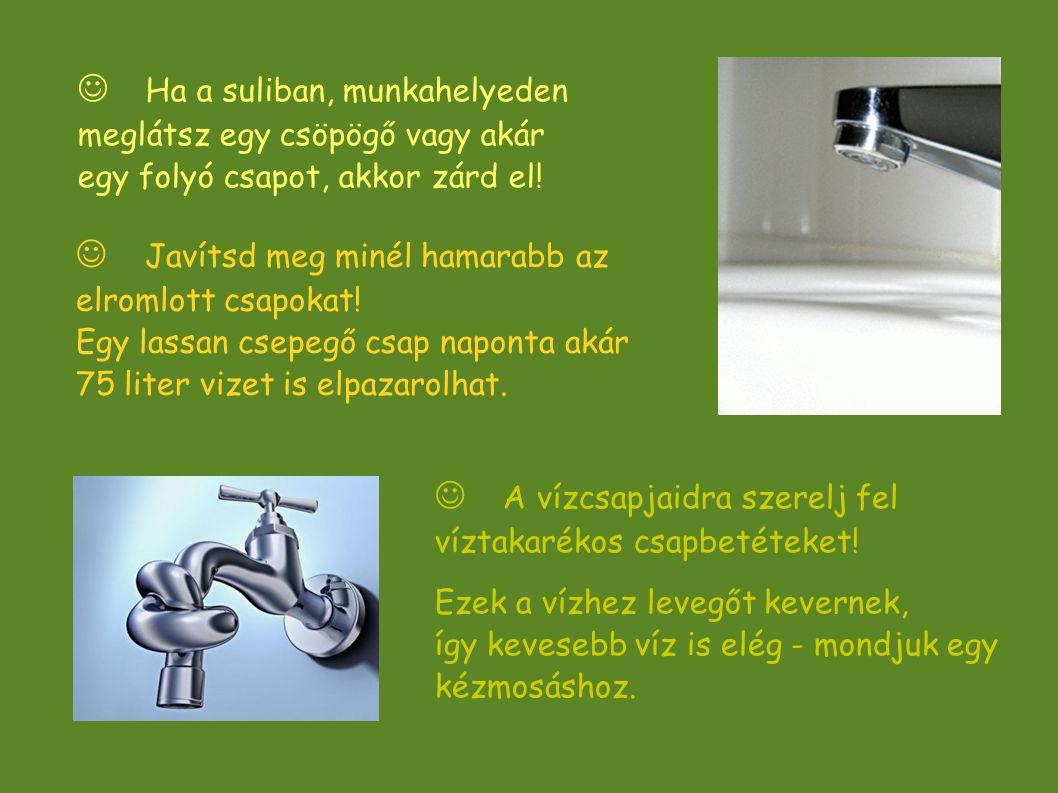  Ha a suliban, munkahelyeden meglátsz egy csöpögő vagy akár egy folyó csapot, akkor zárd el!  A vízcsapjaidra szerelj fel víztakarékos csapbetéteket