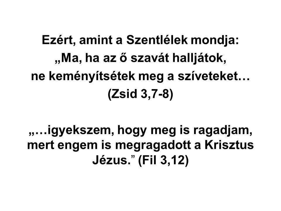 """Ezért, amint a Szentlélek mondja: """"Ma, ha az ő szavát halljátok, ne keményítsétek meg a szíveteket… (Zsid 3,7-8) """"…igyekszem, hogy meg is ragadjam, me"""