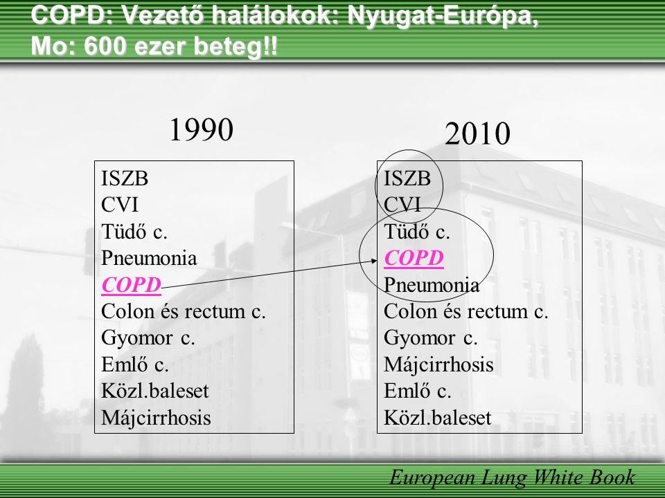 COPD: Vezető halálokok: Nyugat-Európa, Mo: 600 ezer beteg!! ISZB CVI Tüdő c. Pneumonia COPD Colon és rectum c. Gyomor c. Emlő c. Közl.baleset Májcirrh
