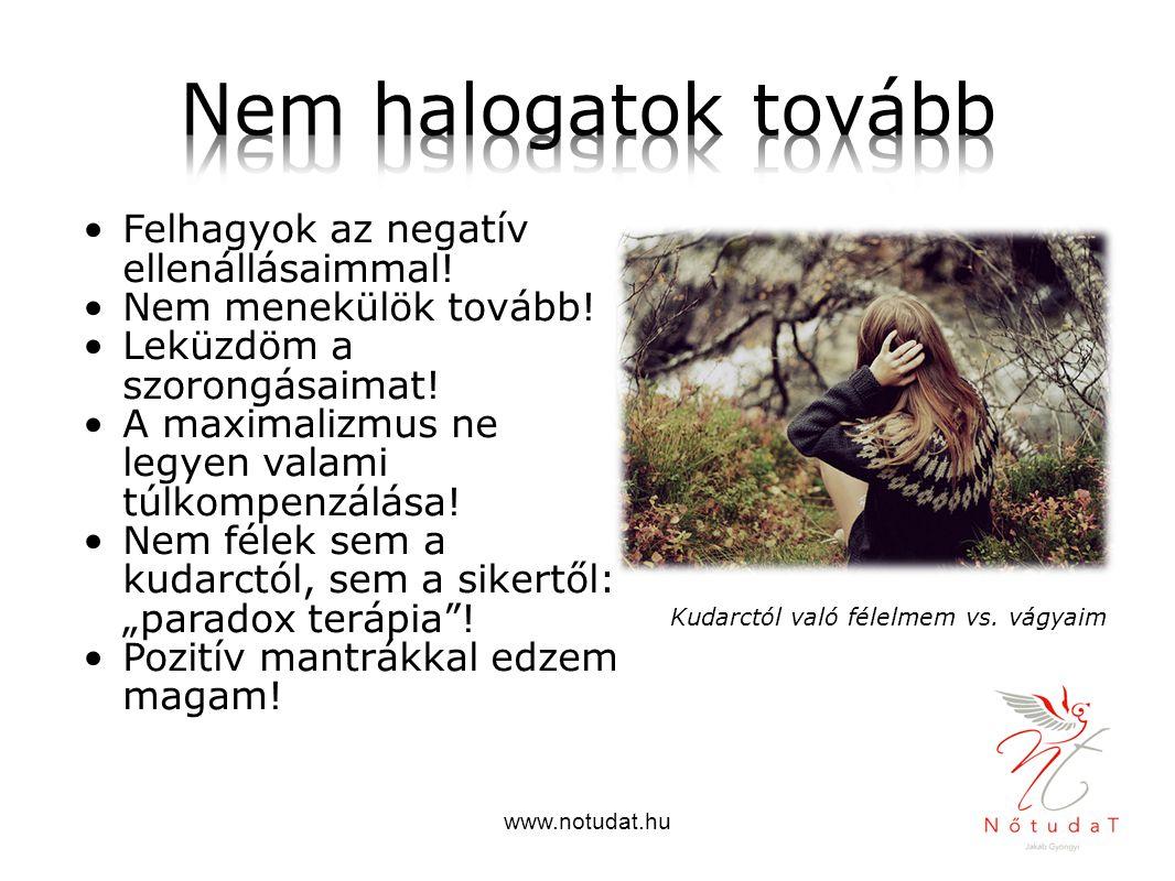 www.notudat.hu Felhagyok az negatív ellenállásaimmal! Nem menekülök tovább! Leküzdöm a szorongásaimat! A maximalizmus ne legyen valami túlkompenzálása
