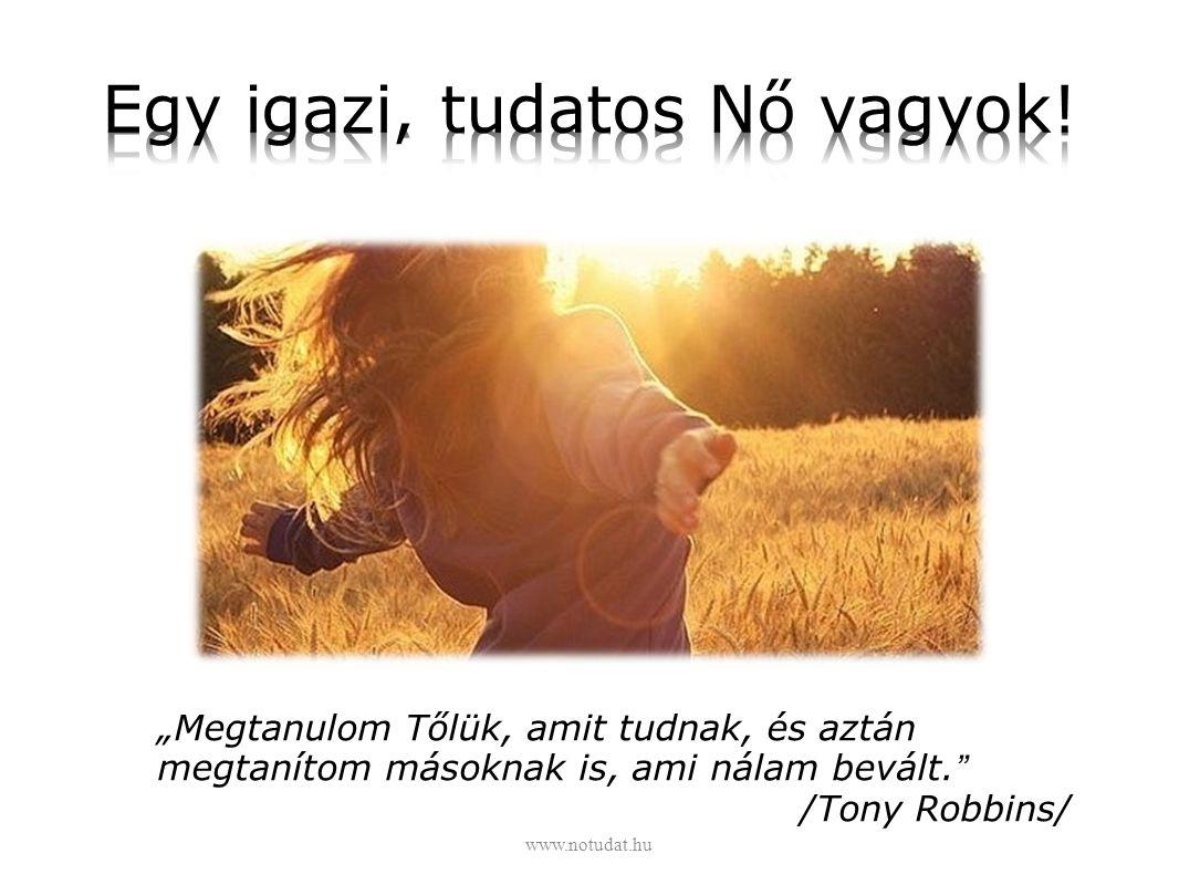 """""""Megtanulom Tőlük, amit tudnak, és aztán megtanítom másoknak is, ami nálam bevált."""" /Tony Robbins/ www.notudat.hu"""