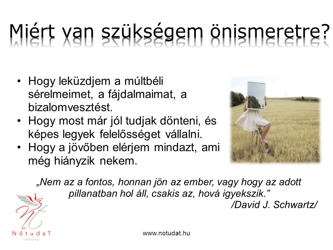 www.notudat.hu Hogy leküzdjem a múltbéli sérelmeimet, a fájdalmaimat, a bizalomvesztést. Hogy most már jól tudjak dönteni, és képes legyek felelőssége