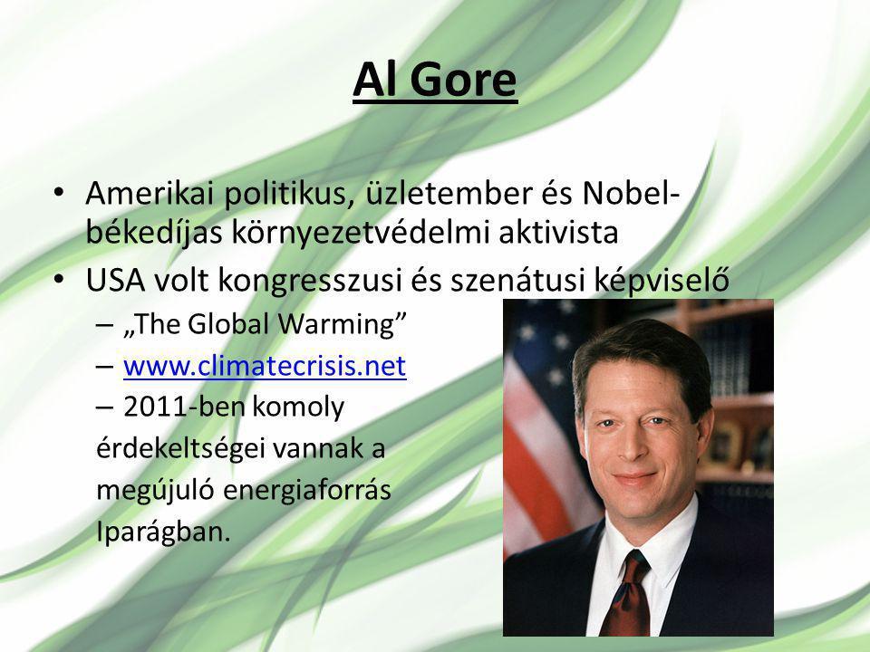 """Al Gore Amerikai politikus, üzletember és Nobel- békedíjas környezetvédelmi aktivista USA volt kongresszusi és szenátusi képviselő – """"The Global Warming – www.climatecrisis.net www.climatecrisis.net – 2011-ben komoly érdekeltségei vannak a megújuló energiaforrás Iparágban."""