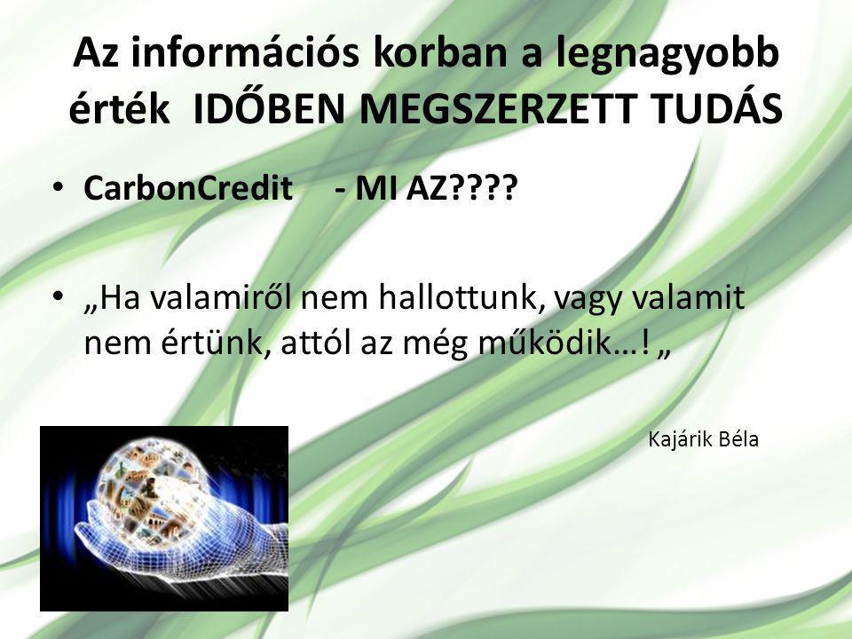 Az információs korban a legnagyobb érték IDŐBEN MEGSZERZETT TUDÁS CarbonCredit - MI AZ???.