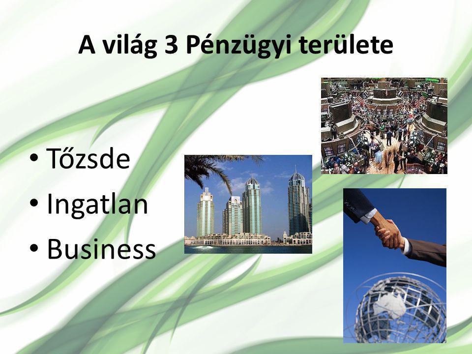 A világ 3 Pénzügyi területe Tőzsde Ingatlan Business