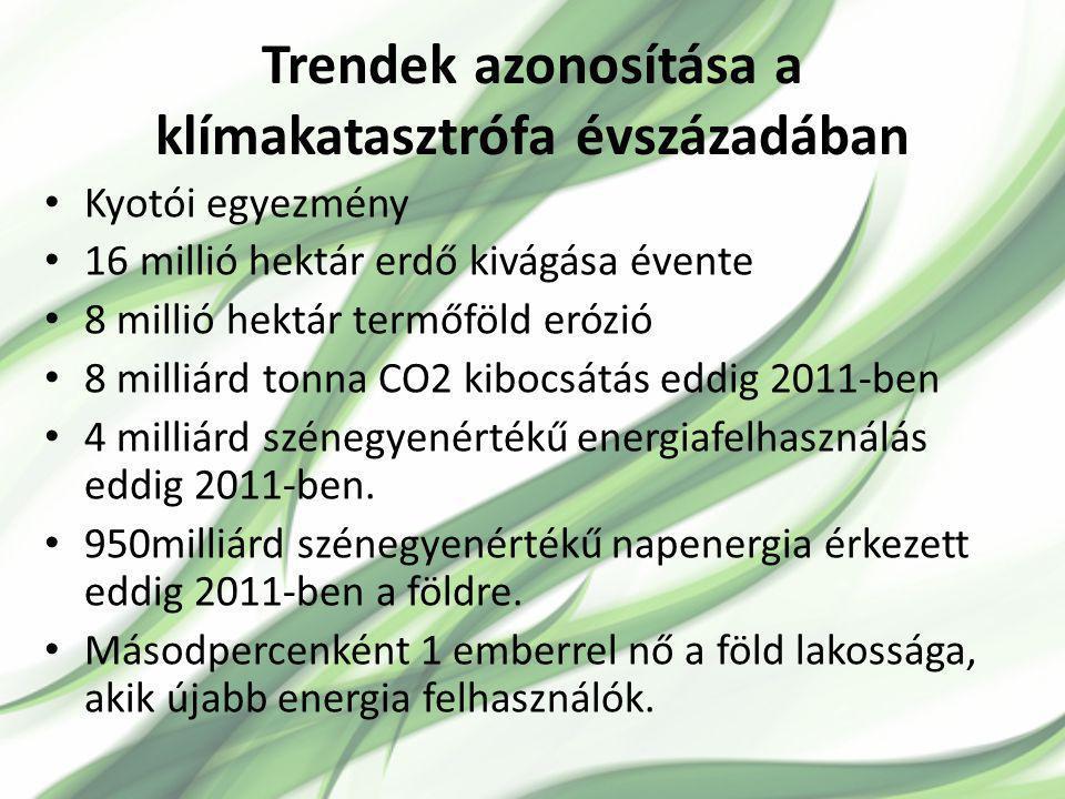 Trendek azonosítása a klímakatasztrófa évszázadában Kyotói egyezmény 16 millió hektár erdő kivágása évente 8 millió hektár termőföld erózió 8 milliárd tonna CO2 kibocsátás eddig 2011-ben 4 milliárd szénegyenértékű energiafelhasználás eddig 2011-ben.