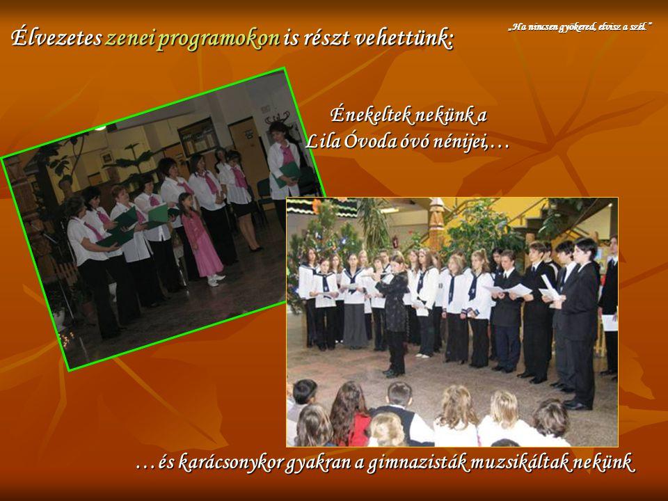 Élvezetes zenei programokon is részt vehettünk: Énekeltek nekünk a Lila Óvoda óvó nénijei,… …és karácsonykor gyakran a gimnazisták muzsikáltak nekünk