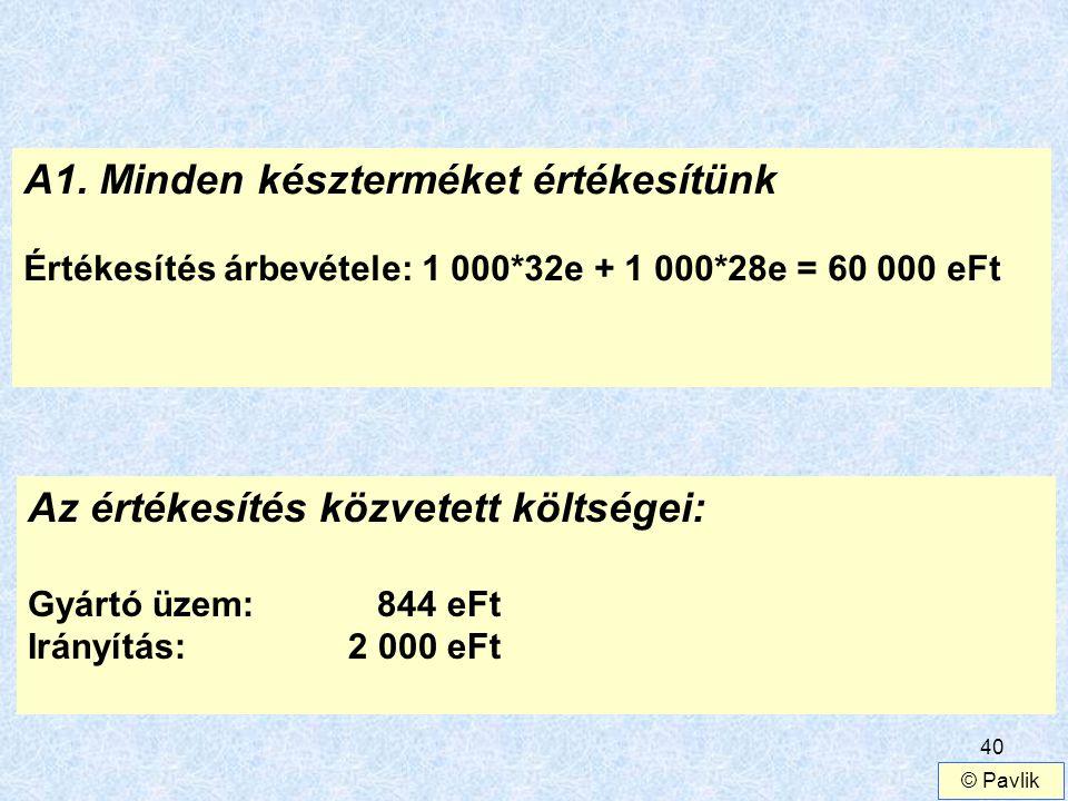 40 A1. Minden készterméket értékesítünk Értékesítés árbevétele: 1 000*32e + 1 000*28e = 60 000 eFt Az értékesítés közvetett költségei: Gyártó üzem: 84