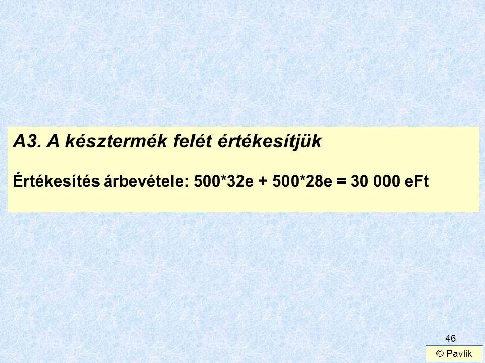 46 A3. A késztermék felét értékesítjük Értékesítés árbevétele: 500*32e + 500*28e = 30 000 eFt © Pavlik