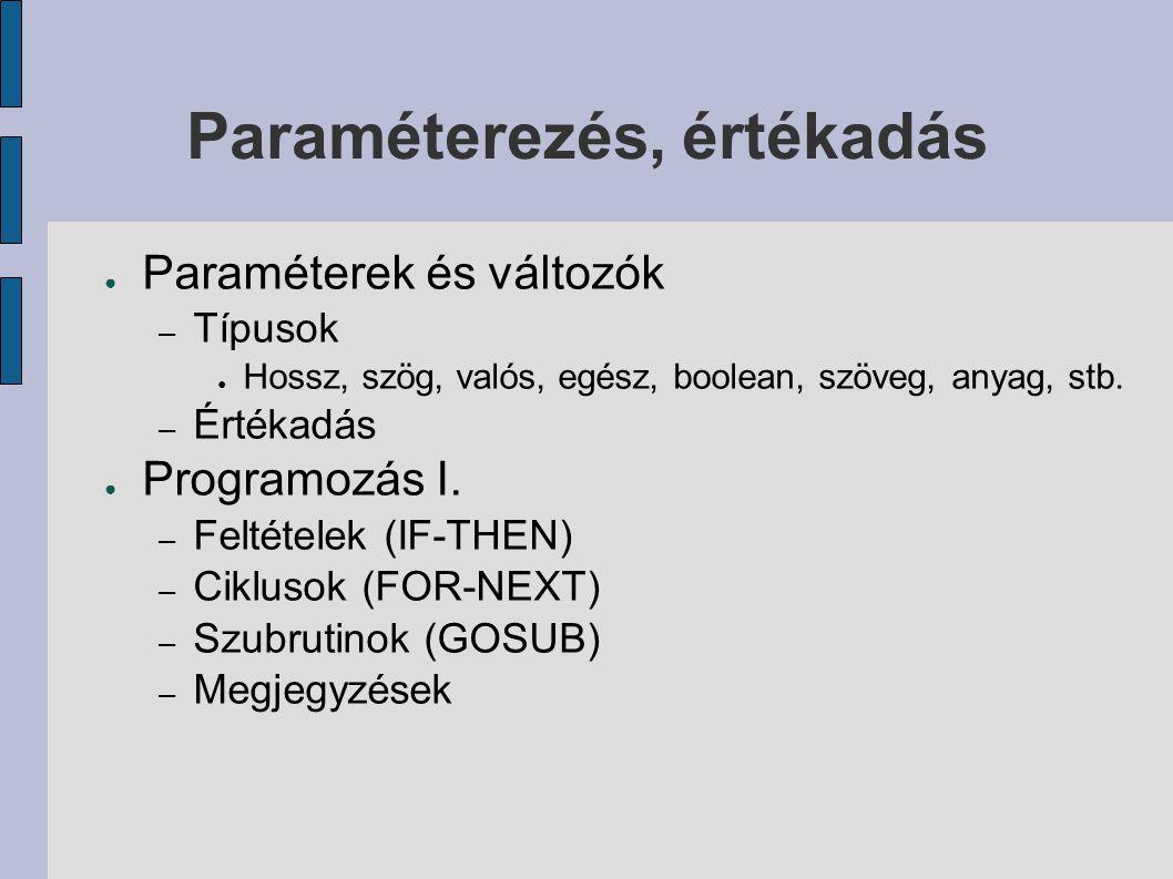 Paraméterezés, értékadás ● Paraméterek és változók – Típusok ● Hossz, szög, valós, egész, boolean, szöveg, anyag, stb.