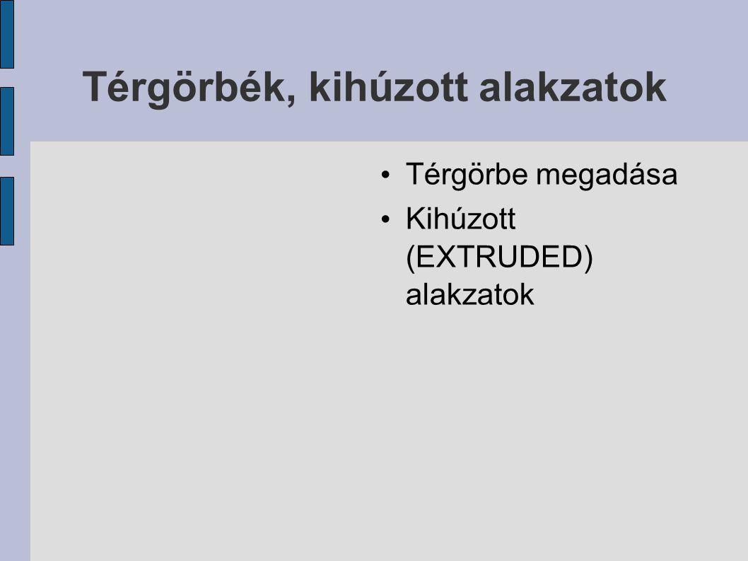 Térgörbék, kihúzott alakzatok Térgörbe megadása Kihúzott (EXTRUDED) alakzatok