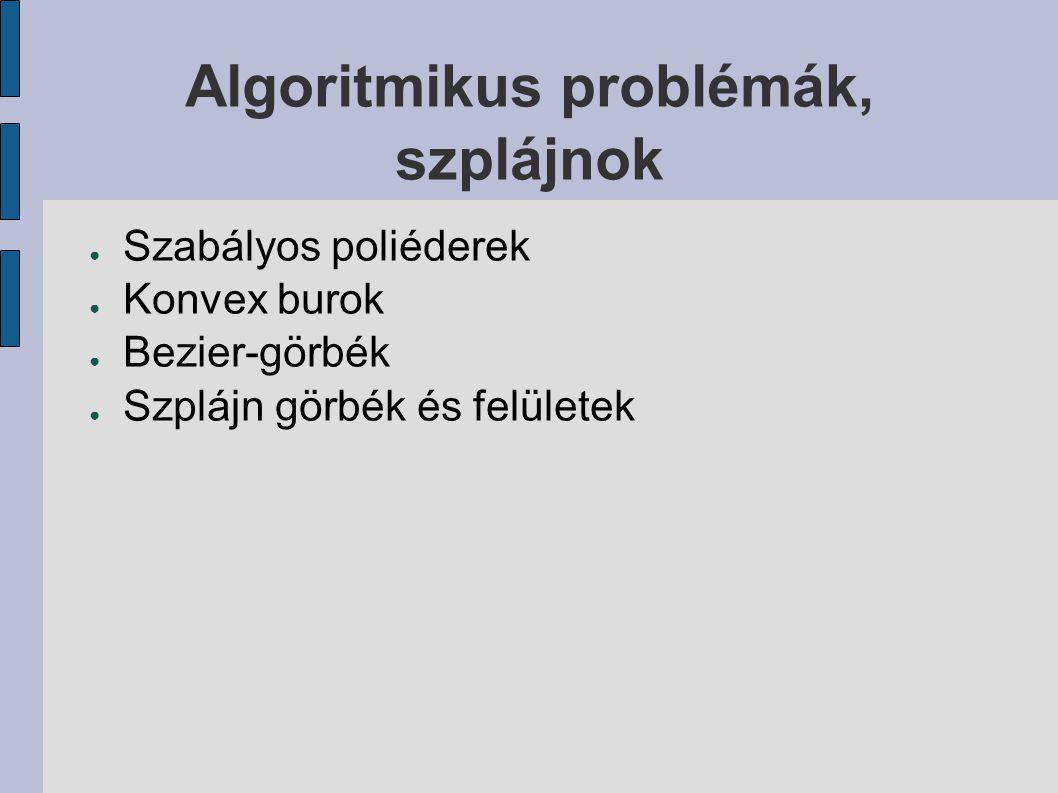Algoritmikus problémák, szplájnok ● Szabályos poliéderek ● Konvex burok ● Bezier-görbék ● Szplájn görbék és felületek