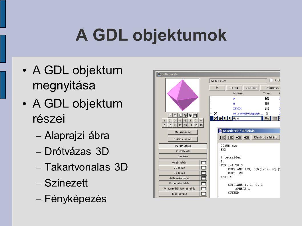 A GDL objektumok A GDL objektum megnyitása A GDL objektum részei – Alaprajzi ábra – Drótvázas 3D – Takartvonalas 3D – Színezett – Fényképezés