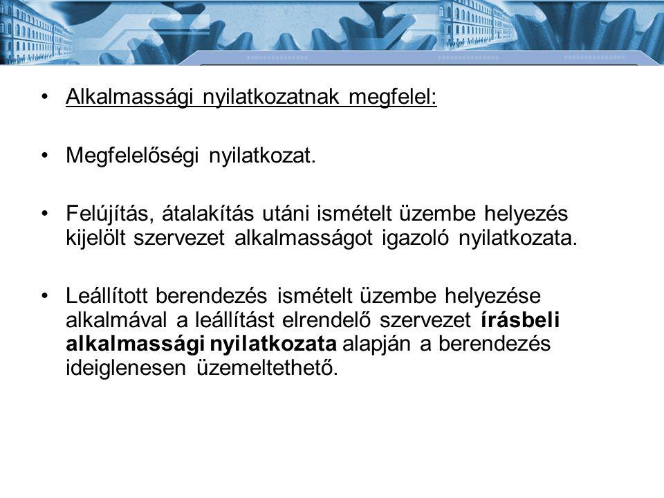 Alkalmassági nyilatkozatnak megfelel: Megfelelőségi nyilatkozat. Felújítás, átalakítás utáni ismételt üzembe helyezés kijelölt szervezet alkalmasságot