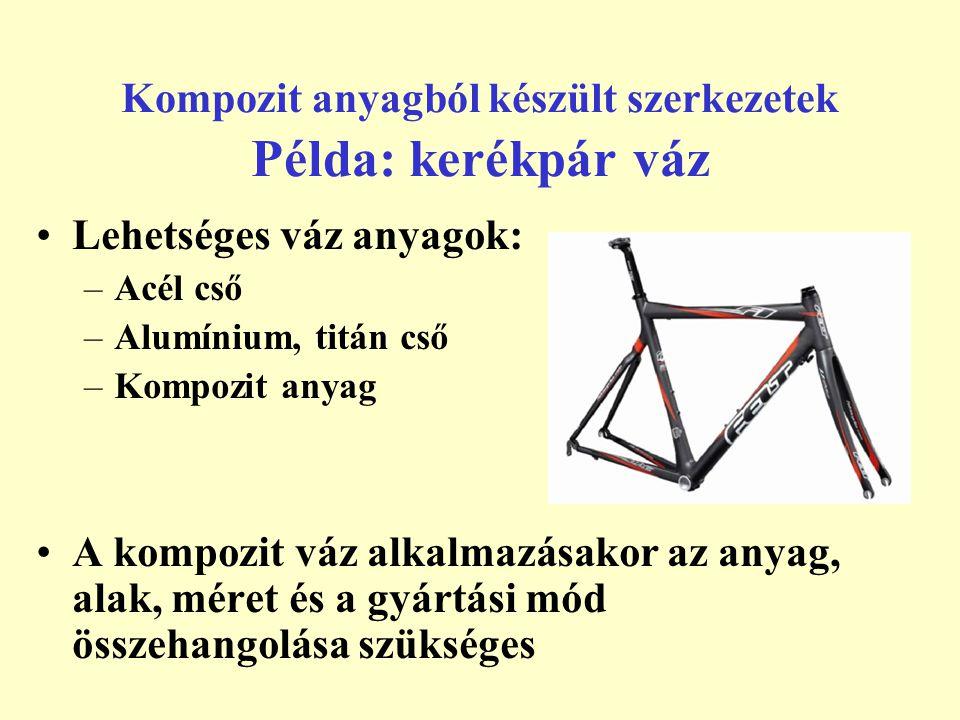 Kompozit anyagból készült szerkezetek Példa: kerékpár váz Lehetséges váz anyagok: –Acél cső –Alumínium, titán cső –Kompozit anyag A kompozit váz alkal