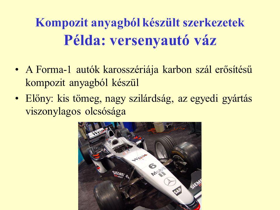 Kompozit anyagból készült szerkezetek Példa: versenyautó váz A Forma-1 autók karosszériája karbon szál erősítésű kompozit anyagból készül Előny: kis t