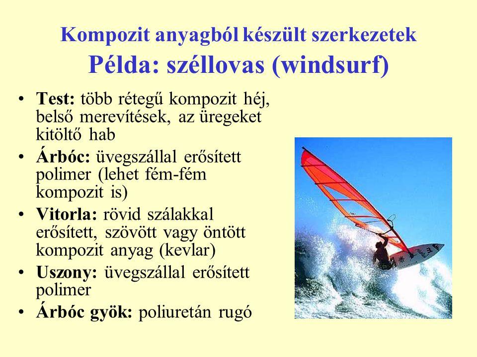 Kompozit anyagból készült szerkezetek Példa: széllovas (windsurf) Test: több rétegű kompozit héj, belső merevítések, az üregeket kitöltő hab Árbóc: üv