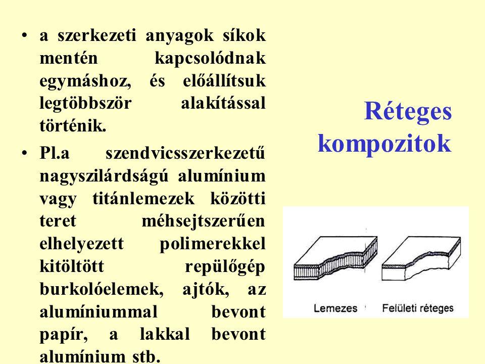 Réteges kompozitok a szerkezeti anyagok síkok mentén kapcsolódnak egymáshoz, és előállítsuk legtöbbször alakítással történik. Pl.a szendvicsszerkezetű