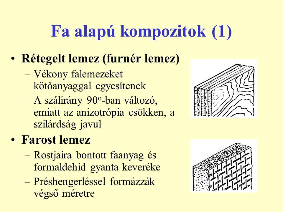 Fa alapú kompozitok (1) Rétegelt lemez (furnér lemez) –Vékony falemezeket kötőanyaggal egyesítenek –A szálirány 90 o -ban változó, emiatt az anizotróp