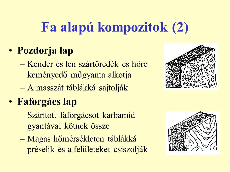 Fa alapú kompozitok (2) Pozdorja lap –Kender és len szártöredék és hőre keményedő műgyanta alkotja –A masszát táblákká sajtolják Faforgács lap –Szárít