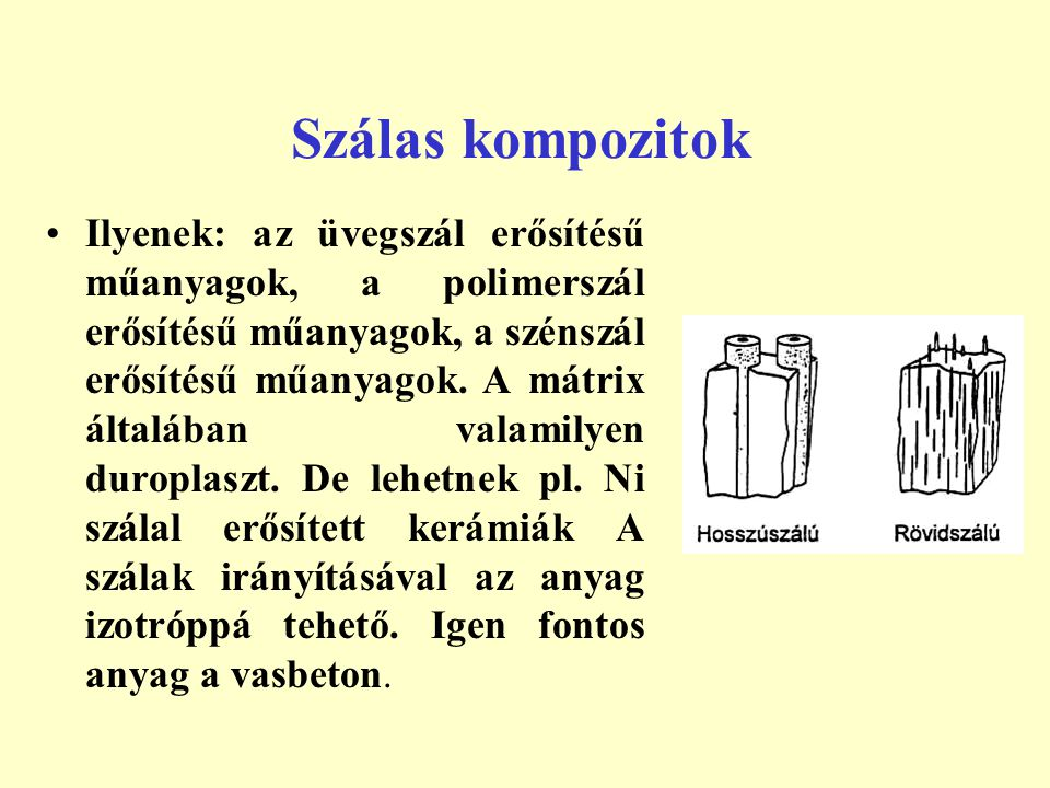 Szálas kompozitok Ilyenek: az üvegszál erősítésű műanyagok, a polimerszál erősítésű műanyagok, a szénszál erősítésű műanyagok. A mátrix általában vala