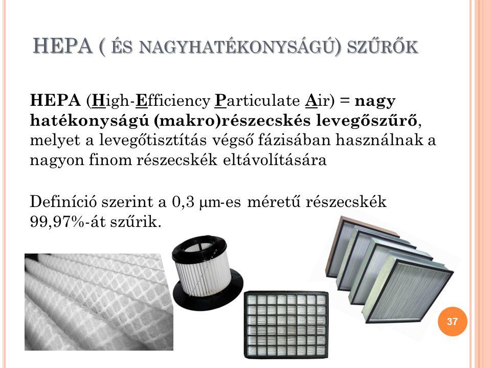 HEPA ( ÉS NAGYHATÉKONYSÁGÚ ) SZŰRŐK HEPA ( H igh- E fficiency P articulate A ir) = nagy hatékonyságú (makro)részecskés levegőszűrő, melyet a levegőtis