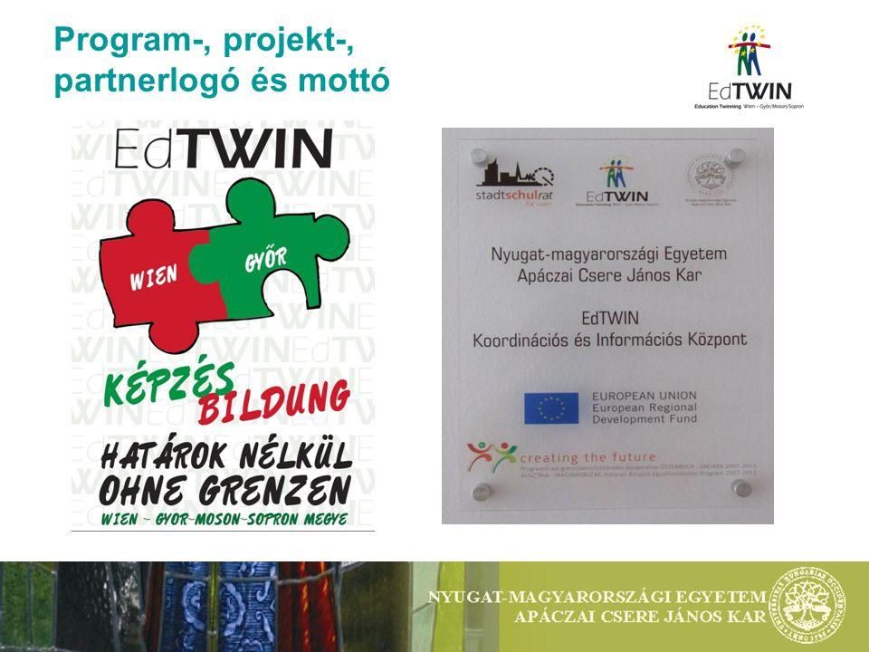 Program-, projekt-, partnerlogó és mottó