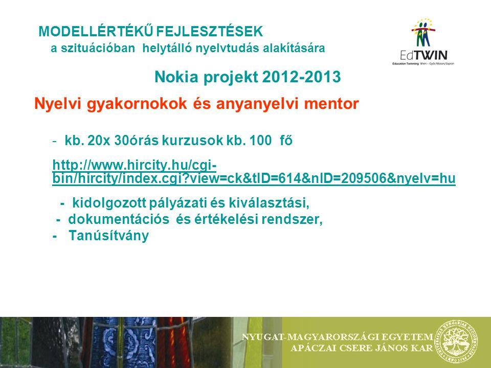 Nokia projekt 2012-2013 Nyelvi gyakornokok és anyanyelvi mentor - kb. 20x 30órás kurzusok kb. 100 fő http://www.hircity.hu/cgi- bin/hircity/index.cgi?